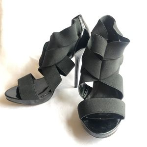BCBG Generation Black Strappy Heels